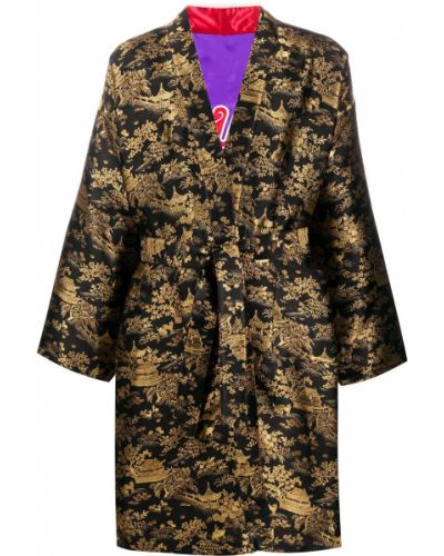 Черное с рукавами хлопковое кимоно Doublet