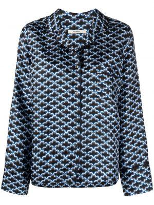 Синяя шелковая блузка с воротником Odeeh