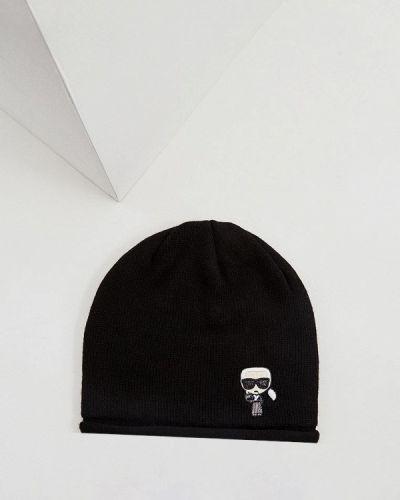 Шапка весенняя черная Karl Lagerfeld