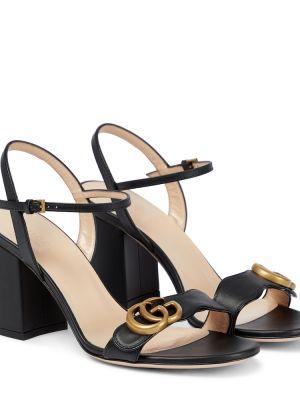 Czarne sandały skorzane vintage Gucci