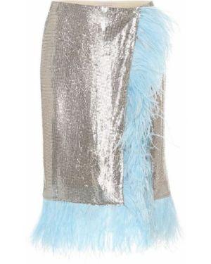 Ажурная синяя юбка миди в рубчик с сеткой Christopher Kane
