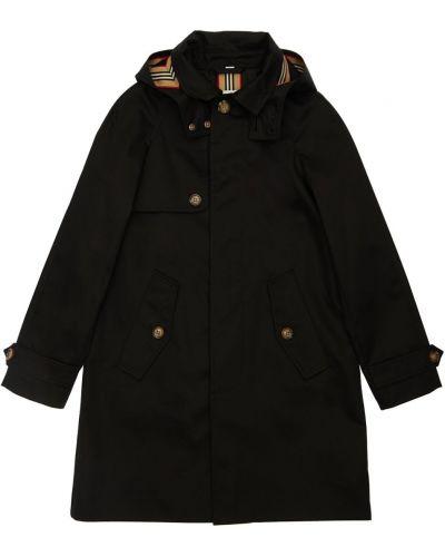 Czarny bawełna płaszcz z kieszeniami z kołnierzem Burberry