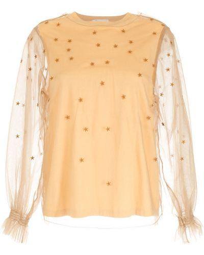 Хлопковая желтая блузка с вырезом НК