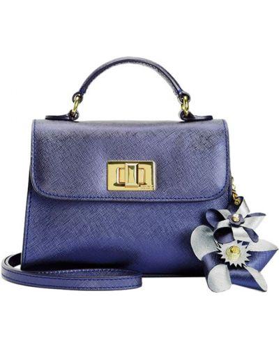 Кожаная сумка с клапаном синий Juicy Couture