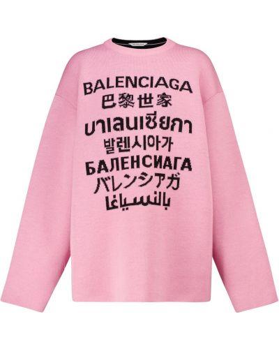 Czarny wełniany sweter rozciągać Balenciaga
