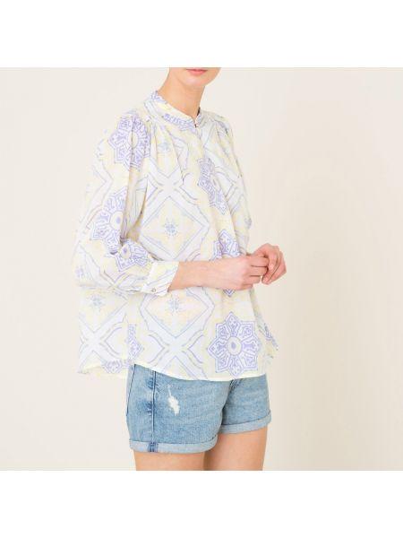 Блузка прямая с V-образным вырезом с рюшами Antik Batik