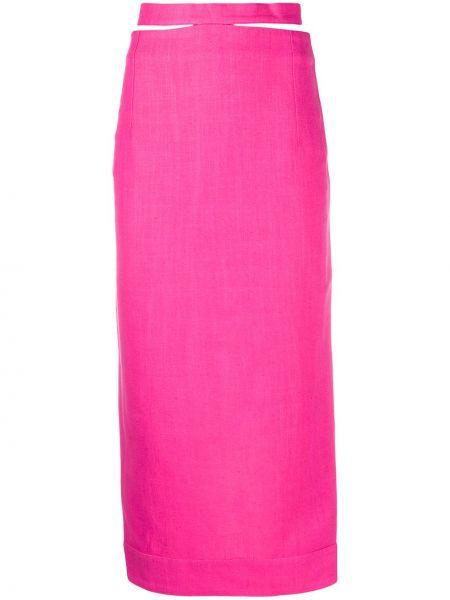 Розовая с завышенной талией юбка миди на молнии с поясом Jacquemus