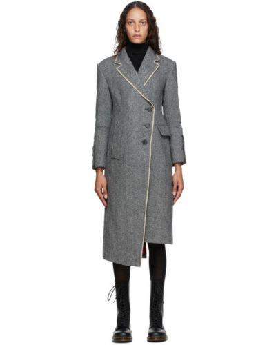 Сатиновая черная длинная куртка с опушкой с манжетами Andersson Bell