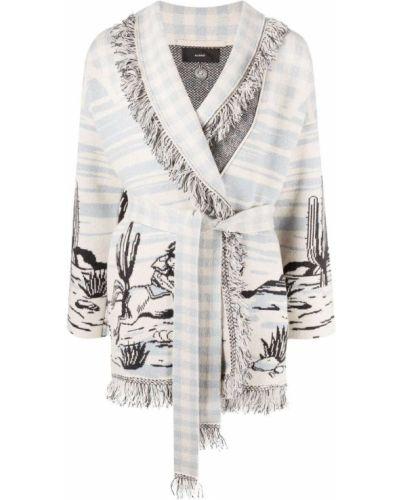 Белое кашемировое длинное пальто с опушкой Alanui