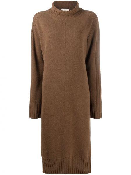 Коричневое кашемировое платье макси с длинными рукавами до середины колена Barena