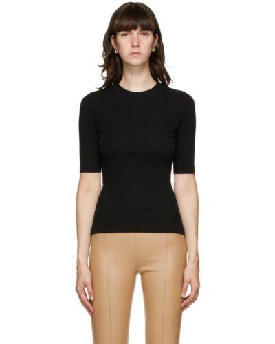 Хлопковая с рукавами черная рубашка с воротником Rosetta Getty