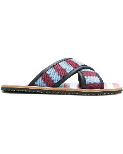 Z paskiem niebieski skórzany sandały na paskach Marni