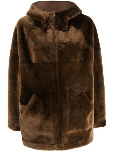 Коричневое кожаное пальто классическое с капюшоном Blancha