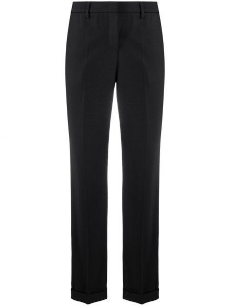 Брючные шерстяные черные укороченные брюки с карманами Tonello