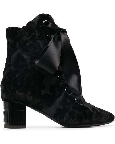 Ажурные кожаные черные пинетки на шнурках Moschino