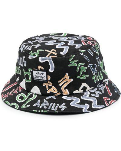 Czarny kapelusz bawełniany z printem Vans