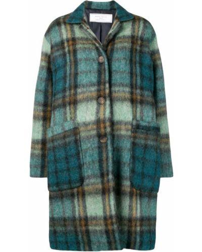 Синее длинное пальто с капюшоном на пуговицах Société Anonyme
