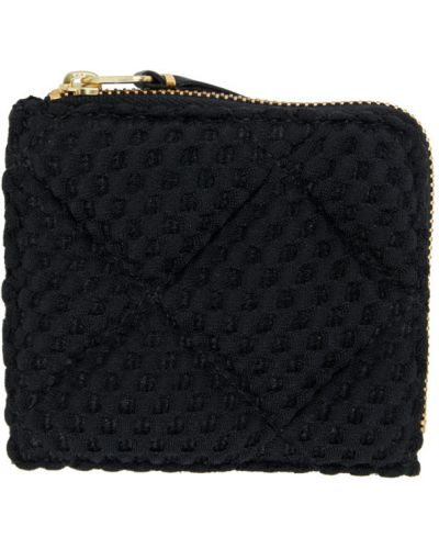 Skórzany pikowana czarny portfel skórzany z gniazdem Comme Des Garcons Wallets