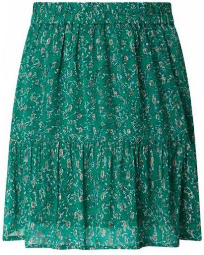 Zielona spódnica mini rozkloszowana z falbanami Lollys Laundry