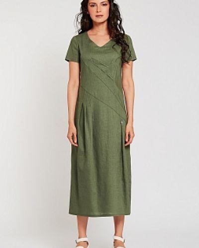 Хлопковое приталенное зеленое платье D`imma