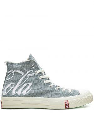 Синие высокие кроссовки на шнурках круглые Converse