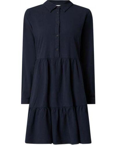 Niebieska sukienka rozkloszowana z długimi rękawami Kaffe