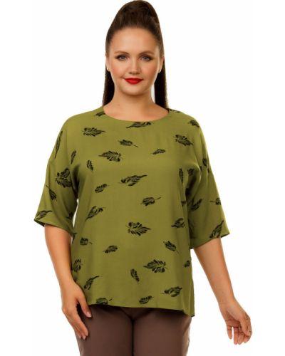 Повседневная блузка с коротким рукавом из штапеля с короткими рукавами с разрезом Liza Fashion