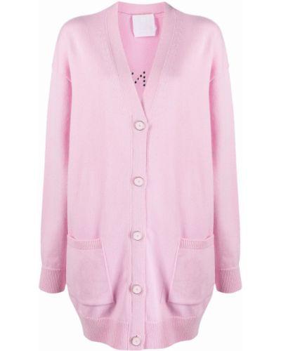 Z kaszmiru różowy kardigan z dekoltem w serek Givenchy