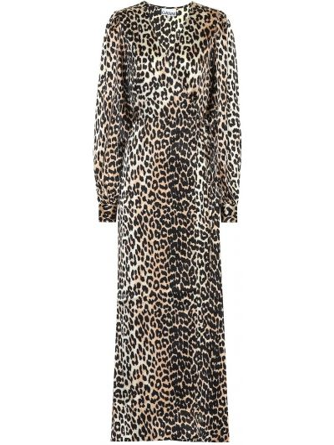Платье с запахом леопардовое Ganni