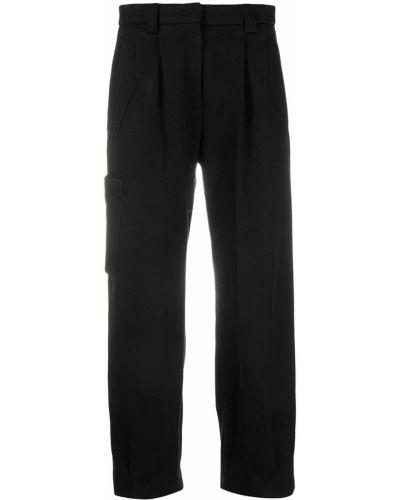 Черные брюки карго с карманами с высокой посадкой с декоративной отделкой Pt01