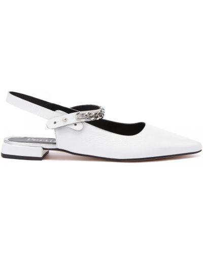 Открытые кожаные белые туфли Pertini