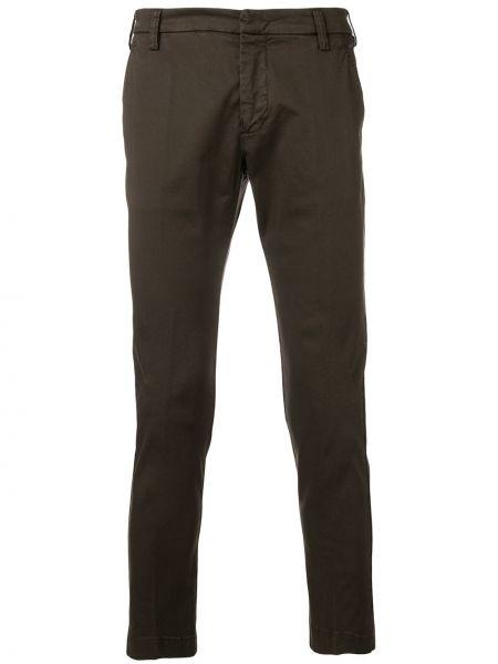 Хлопковые коричневые брюки с поясом на крючках Entre Amis