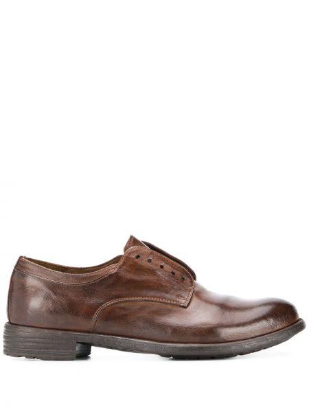 Brązowy skórzany buty brogsy niskie obcasy Officine Creative