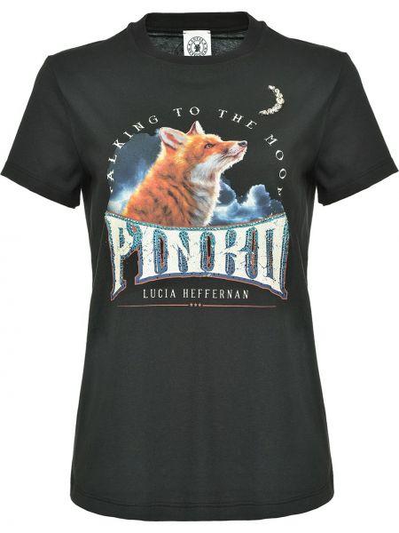 Хлопковая прямая черная футболка с круглым вырезом Pinko