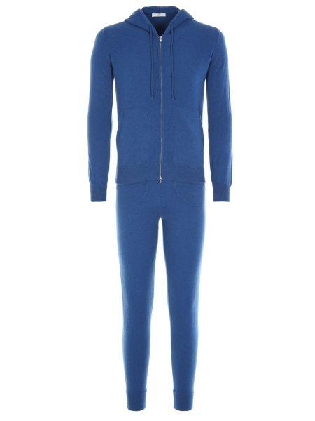 Кашемировый синий костюмный костюм с поясом Panicale