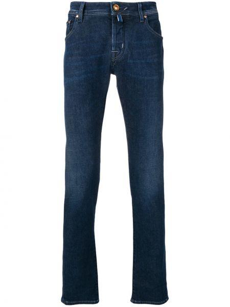 Синие зауженные джинсы-скинни из вискозы Jacob Cohen