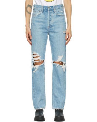 Bezpłatne cięcie niebieski jeansy z kieszeniami Agolde