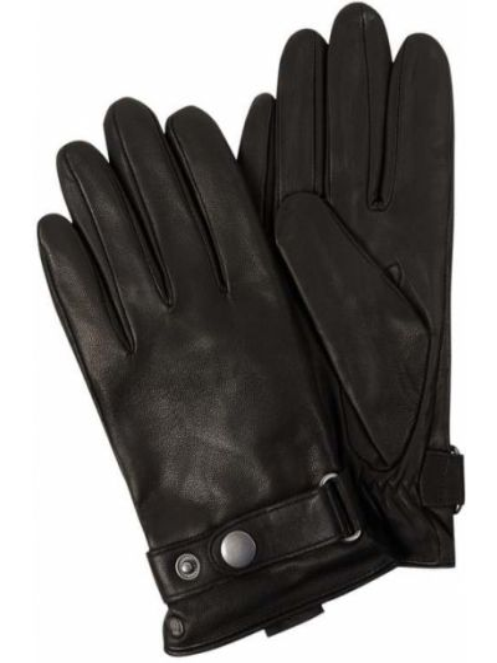 Skórzany czarny skórzany rękawiczki prążkowany Roeckl