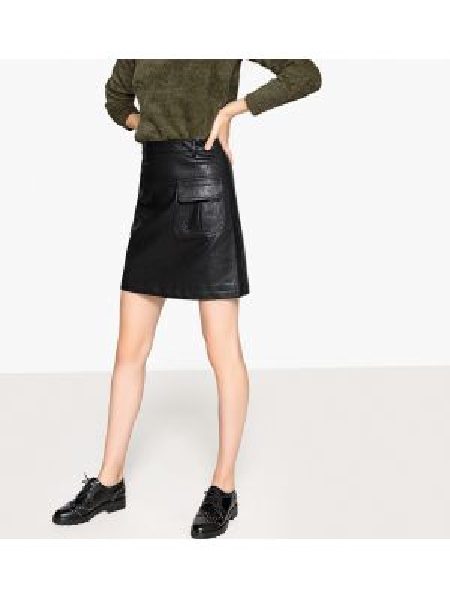 Черная прямая юбка мини в рубчик с карманами See U Soon