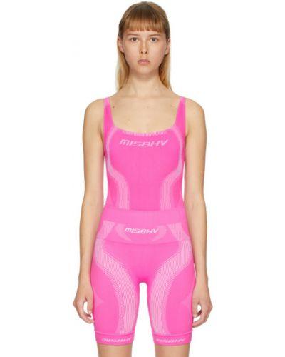 Różowy sport body bez rękawów z nylonu Misbhv