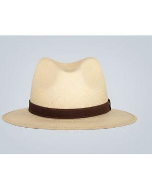 Шляпа соломенная коричневый замшевый Borsalino