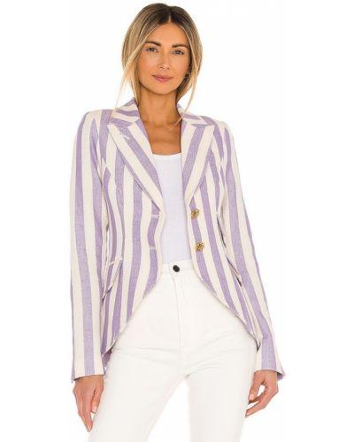 Фиолетовый кожаный пиджак с заплатками Smythe