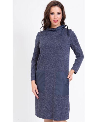 Прямое с рукавами трикотажное платье миди прима линия