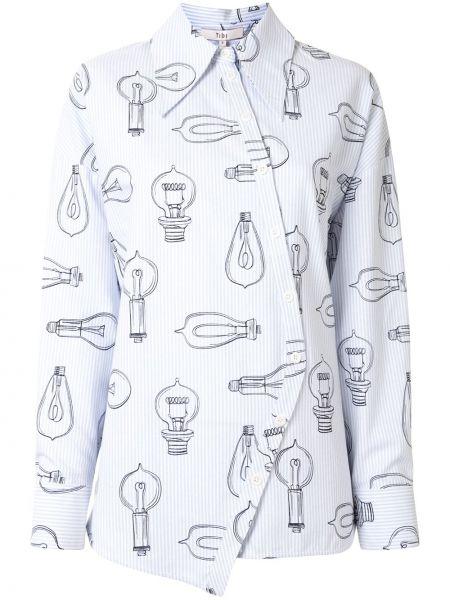 Синяя рубашка с манжетами с воротником на пуговицах Tibi
