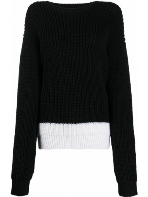 Czarny sweter wełniany z haftem Rochas
