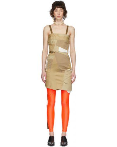 Beżowa sukienka mini z paskiem bez rękawów Junya Watanabe