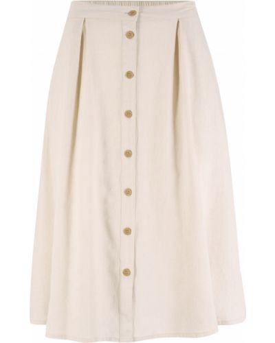 Льняная серая юбка на пуговицах Bonprix