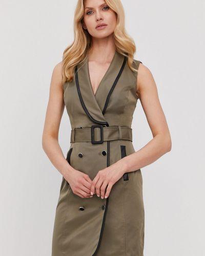 Brązowa sukienka mini bez rękawów zapinane na guziki Morgan