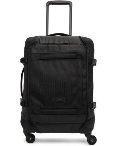 Z paskiem czarny walizka z płótna na paskach Eastpak