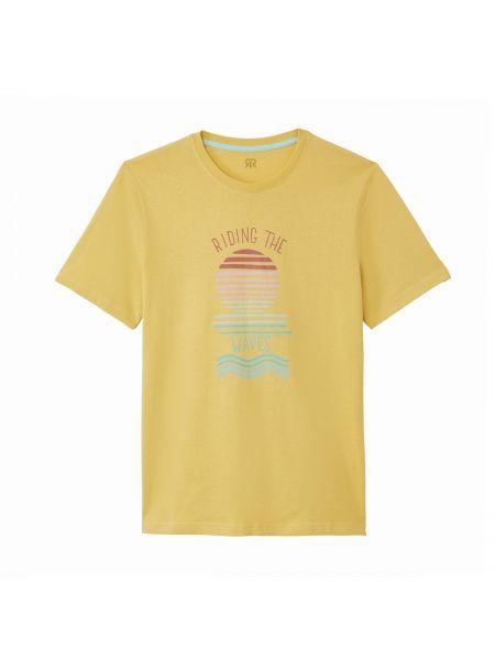 Хлопковая желтая футболка с рисунком с круглым вырезом с короткими рукавами La Redoute Collections